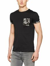 New Look Men's Floral Pocket and Sleeve T-Shirt XS Black BNWT