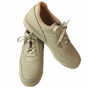 ROCKPORT Pro Walker M7102 Men's Sz 10.5 Med Leather Sneaker Shoes Lace Up Beige