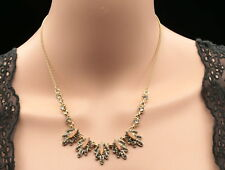 unique black hematite crystal pink marquise chain gold plate choker necklace N38