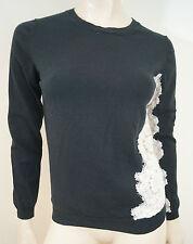 NINA RICCI Black Cotton & Cashmere Cream Lace Insert Jumper Sweater Top Sz:M