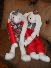 """2 Adorable  Christmas BUNNY RABBIT Stuffed 24"""" plush decoration home decor"""