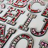 Red & Pink Rhinestone Letter Patches Iron On Sew on Alphabet Embroidered Sparkle