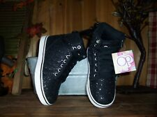 OCEAN PACIFIC GIRLS ANKLE TOP SHOES ATHLETIC SIZE 13 COLOR BLACK GLITTER DESIGN