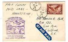 FIRST FLIGHT COVER MUD LAKE, P. Q.-HAILEYBURY, ONT. 1936 - BY AIR MAIL ETIQUETTE
