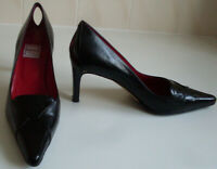 RENATA Italian Black Keyhole Heels Pumps Court Shoes Italy Size UK 6 EU 39.5
