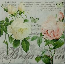 ROSES DE JARDIN 2 individual LUNCH SIZE  paper napkins for decoupage 3-ply