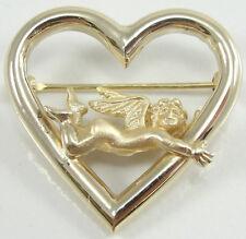 "Gold Heart Angel Cherub Pin Brooch 1"" Peter Brams Designs Pbd 14K Solid Yellow"