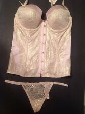 Victorias Secret Dream Angels Pink/Gold Lace Sexy Bustier Thong 36B NWT $109.50