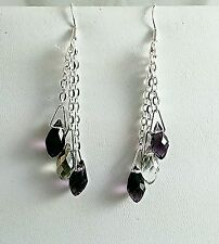 "Amethyst & Crystal SWAROVSKI & Chain Dangle Sterling Earrings 2"" NWOT"