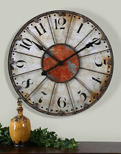 "NEW 29"" ANTIQUED IVORY RED LARGE NUMBERS WALL CLOCK VINTAGE RUSTIC STYLE"