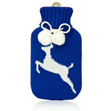 NPW Huggable Hotties BLUE DEER HOT WATER BOTTLE w/ sweater blue/white size 750ml