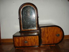 "ANTIQUE Art Deco /16""/ WOOD DRESSING TABLE CRYSTAL MIRROR CABINET dresser"