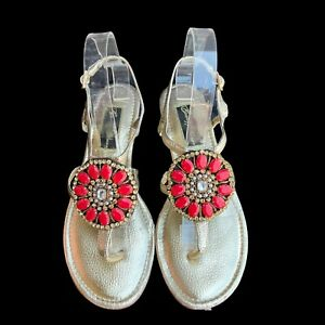 BEVERLY FELDMAN Women's Size 9M Gold Red Jeweled Buckle Sandals