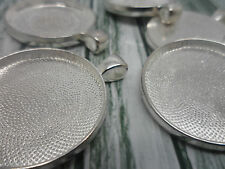 5 x 30mm Antique Silver Pendant settings,Bezels,Findings.40x33mm 30mm tray Craft