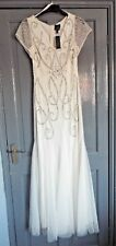 ADRIANNA PAPELL WHITE BALL GOWN/ PROM  , SEQUINNED, CAP SLEEVE BNWT SIZE UK 8