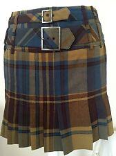 KAREN MILLEN Navy Brown Khaki Mini Tartan Skirt UK10 Perfect Condition