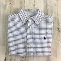 Ralph Lauren Polo Pony Boys Blue Plaid Oxford Button Down Dress Shirt Sz 3 3T