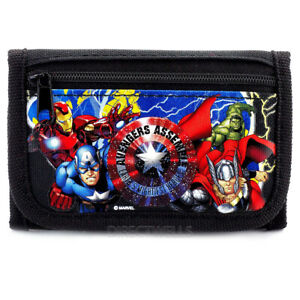 Marvel Avengers Authentic Licensed Trifold Black Wallet for Children