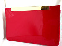 NEW RED FAUX PATENT LEATHER EVENING DAY CLUTCH BAG SHOULDER PROM NUDE NAVY WHITE