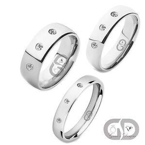 3 Diamond Titanium Band Shiny High Polished Comfort Fit Wedding Engagement Ring