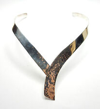 Vintage 925 Sterling Silver Patterned Collar Necklace Choker 39.3g