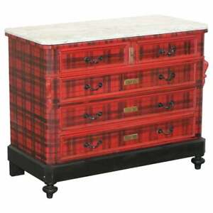 LOVELY ORIGINAL VICTORIAN CHEST OF DRAWERS WITH SCOTTISH TARTAN WRAP, MARBLE TOP