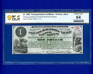 1882 $1 Newton IOWA Chicago Burlington and Pacific Rail Road Company VERY RARE