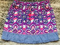 Vineyard Vines Womens Skirt Elastic Waist Blue White Pink Yellow IKAT Print Sz S