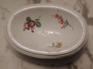 Antique Meissen Porcelain Salt 18th 19th century Sprig Flowers Blue Cross Swords