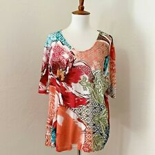 Chicos size 2 Multi Color Short Sleeve Floral Top