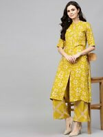 Indian Women Kurta Kurti With Bottom Palazzo Cotton Dress Top Tunic Set Ethnic S