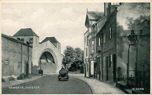 Vintage postcard Newgate Chester 1940s black white car transport Valentines card
