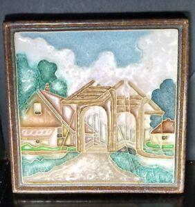 Vintage Delft Porceleyne Fles Cloisonne Tile ☆ Covered Bridge