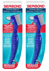 Sea Bond Dental Brush, Dual Head, for Dentures, Retainers, & Mouth Guards (2 Pk)