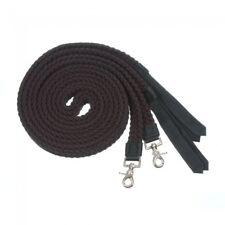 Tough-1 Black Pro Cotton Flat Braided Split Reins w/ Nylon Poppers Horse Tack