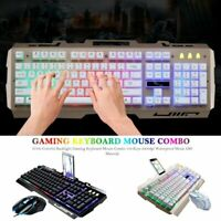 Ergonomic Wired Gaming Keyboard and Mouse LED Colorful Backlight Mechanical Feel