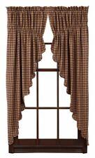2 Pair Farmhouse Nancy's Nook Prairie Swags Green/Sage Tan Check Prim Curtains