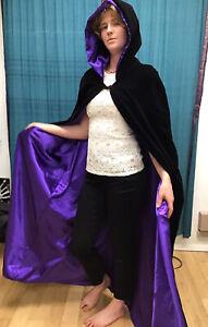 Unisex Black Velour W/Silky Purple Lining Hooded Cape