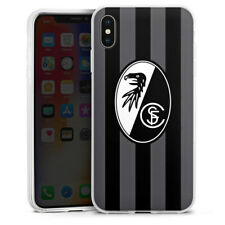 Apple iPhone Xs Max Silikon Hülle Case - SC Freiburg - Grau Gestreift