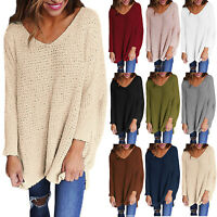 Women's V Neck Long Sleeve Pullover Knit Knitted Sweater Jumper Tops Plus Size