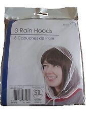 Pack of 3 Rain Hats Clear Plastic Hood Bonnet Emergency Hair Cover , NEW