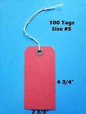 """100 Blank Red Tags 4 3/4"""" x 2 3/8"""" Size 5 Inventory Shipping Hang String Strung"""