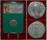 Ancient Roman Empire Coin MARCUS AURELIUS Minerva On Reverse Silver Denarius
