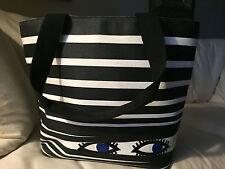 Lulu Guinness Large Ethel Peeping Eyes Tote Bag EUC