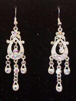 "Beautiful  White Crystal  Rhinestone Silver Dangle Earrings 2 1/2"" Long"