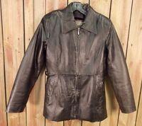 Oscar Piel Leather Coat Jacket Removable Lining Black Women's Size Medium