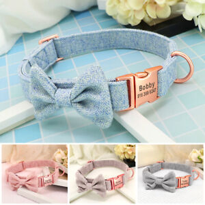 Personalized Dog Collar Custom Engraved Pet Name ID with Removable Bow Tie S M L