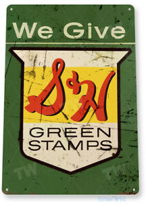 TIN SIGN S&H Green Stamps Retro Stamp Metal Sign Decor B245