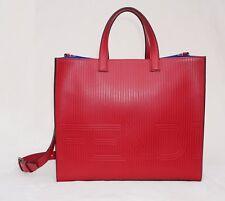 Fendi Men's Optic Stripe Leather Tote, Strawberry Red/Ruthenium, MSRP $2,500