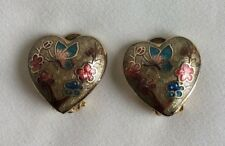 Tree and Butterfly Clip on Earrings  Vintage Heart Shaped Gold Tone Floral
